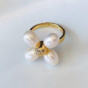 Tory Burch logo gold pearl flower earrings